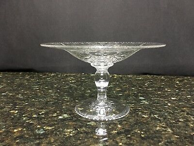 "Beautiful Antique Hawkes Crystal Compote 4&1/4"" High & 6&3/4"" Wide"