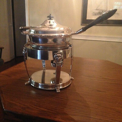 Large Silver Plate Chafing Dish And Table Warmer