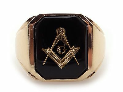 Mens 10k Yellow Gold Black Onyx Masonic Band Pinky Ring Size 9