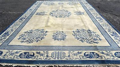 11 x 18 CHINESE PEKING DESIGN VINTAGE HAND KNOTTED ORIENTAL WOOL AREA INDO RUG