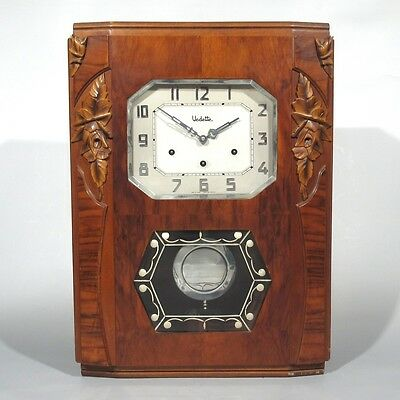 """Vintage French Art Deco """"Vedette Westminster"""" Chime Wall Clock, Wood"""