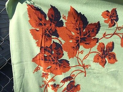 """Vintage Unusual Color Mint Green and Autumn Leaves Tablecloth 61'X51"""""""
