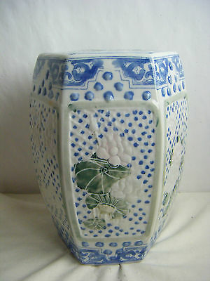 """Porcelain Ceramic Chinese Floral Painting Small Garden Stool- 12.5"""" Tall"""