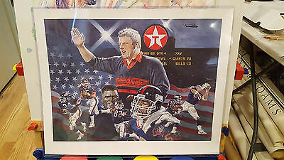 Texaco Commemorative Super Bowl XXV Lithograph Poster NY GiantsTaylor Parcells
