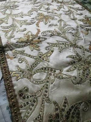 Antique Ivory Silk Hand Embroidered Runner- Goldwork & Spangles