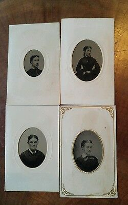 Antique 1860's Ambrotypes, Matting, Hand colored Pictures, lot of young women
