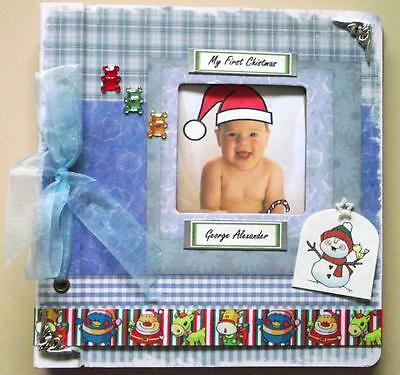 Personalised Handmade Baby Boy Photo Album 1st First Christmas Gift