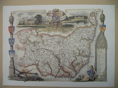 Suffolk Repro 1830 Thomas Moule map County Maps of Old England Ideal Gift