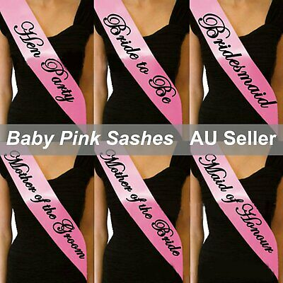 Pink Sashes Black Text Hens Night Party Bridal Bride To Be Bridesmaid Wedding He