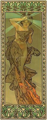 MORNING STAR, 1902 by Alphonse Mucha Vintage French Nouveau Canvas Print 14x36