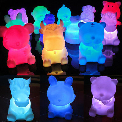 1PC HOT 7 Color Changing LED Night Light Lamp Cute Animal Nightlight Room Decor