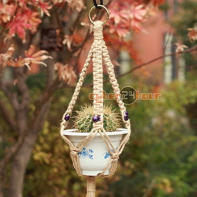 Patio Balcony Plant Hanger Macrame Jute Rope Hanging Pots Basket Planter Holder