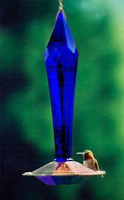 Schrodt Designs COBALT-BLUE FACETED GLASS HUMMINGBIRD FEEDER, Free USA Shipping