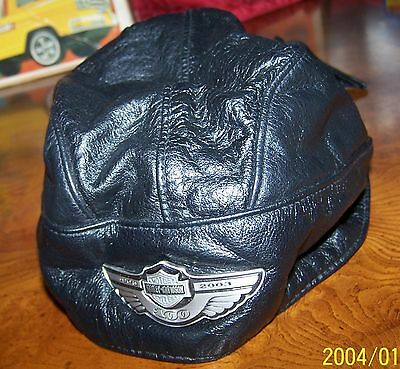 Harley-Davidson 100Th.anniversary Leather Skull Hat/cap- Black In Color-Size M