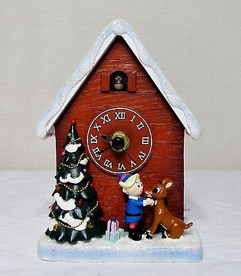 "Nib Roman Amusements Rudolph & Hermey 6"" High Led Musical Christmas Cuckoo Clock"
