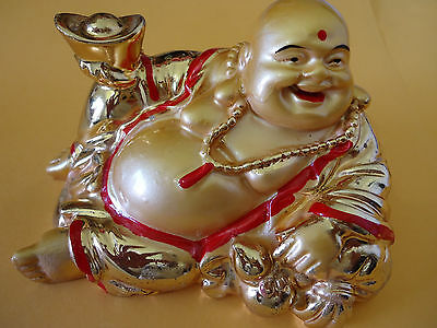 Golden Laughing Buddha Statue Sitting Hollow 120 x 100mm (CH34-3)