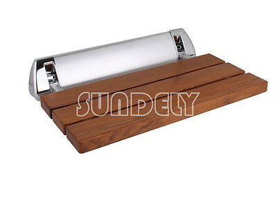 sundely Wall Mounted Solid Wood TEAK Folding Shower Seat Bathroom Mobility Aid