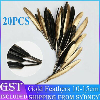 20pcs Gold Black Goose Feathers 10-15cm Millinery DIY Craft Wedding Party Decora