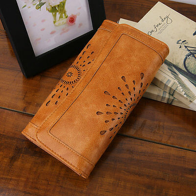 Stylish Vintage Women PU Leather Clutch Purse Carved Hollow Ladies Wallet F#