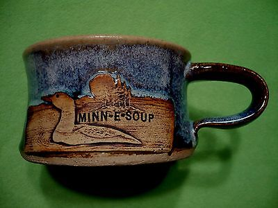 Art Pottery MINN-E-SOUP drip glaze soup cup w/ raised relief LOON LAKE & forest