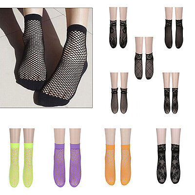 Women Lace Ankle High Fishnet Mesh Net Solid Color Short Crew Socks Intriguing