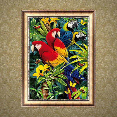 5D Parrots Diamond Embroidery Painting DIY Cross Stitch Kit Home Wall Decor