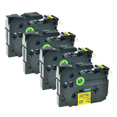 4PK TZ641 Black on Yellow Label Tape For Brother P-Touch PT-D400 PT-2730 TZe-641