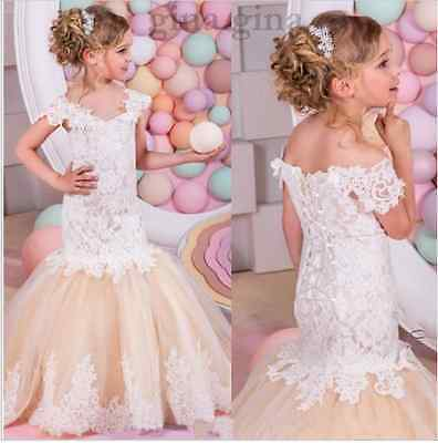 PRINCESS Baby Lace Tulle Flower Girl Dress Birthday Pageant Dresses TUTU Party