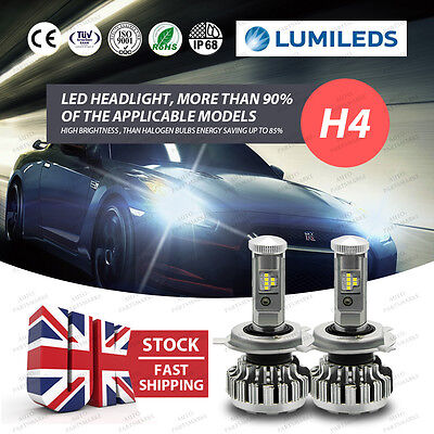 2 X PHILIPS 80W 16000LM 6000K Canbus LED Headlight Kit H4 9003 HB2 Hi/Low Beams