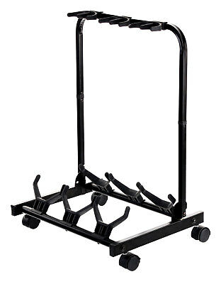 Triple Guitar Stand Electro Acoustic Clasic Guitars Bass Support Wheels Foldable