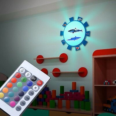 RGB LED Ceiling Wall Spotlight Game Light Remote Control Animal Sticker modern