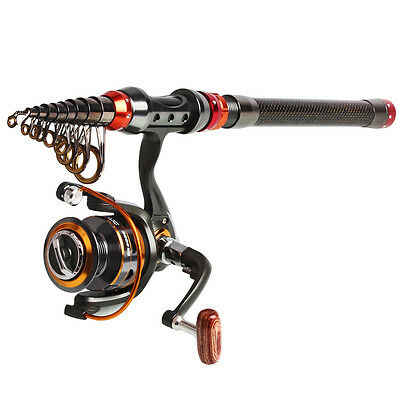 Telescopic High Carbon Spinning Fishing Rod and Reel Combos Portable Poles Set