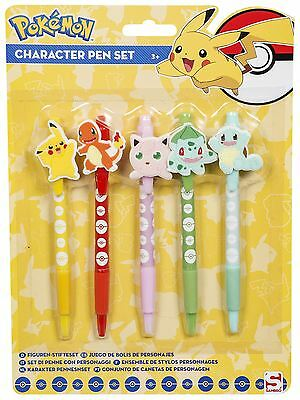 POKEMON | Character Ball Pen Set | 5 x Pens with Toppers