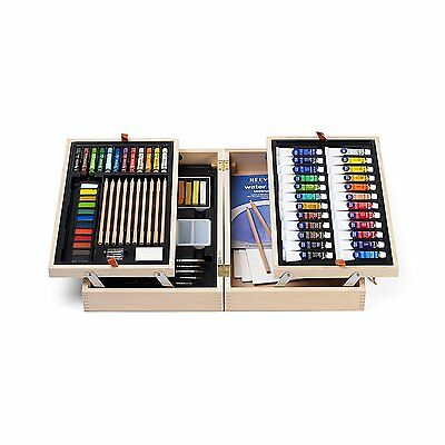 Reeves Water Colour Wooden Art Chest Set Tubes Pans Pastels  Pencils Palette