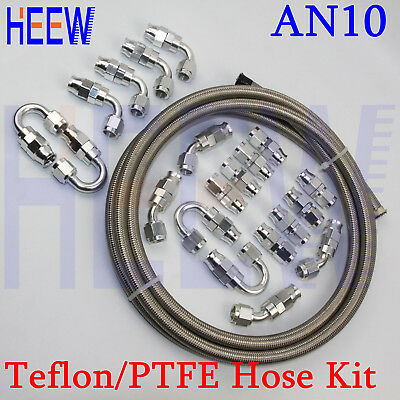 E85 AN10 Teflon Stainless Braided OIL FUEL Line PTFE Hose fitting End Adapto sil