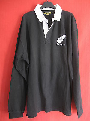 Maillot ALL BLACKS New Zealand Noir vintage Coton Rugby Jersey - XXL