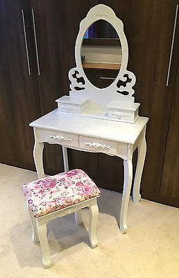 White Dressing Table Vanity Desk Shabby Chic Makeup Storage Mirror & Stool