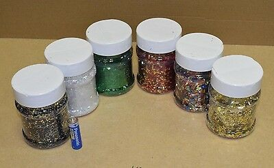 Brianclegg Glitter Shaker Tubs Arts & Crafts Flakes Stars Gold Green Red White