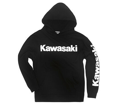 Kawasaki Youth Pullover Hoodie in Black - Size Large - Genuine Kawasaki - New