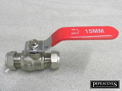 15mm Lever Valve Full Bore Red Hot Ball Type Shut Off Universal WRAS Approved