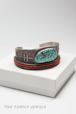 Rare Early signed AARON ANDERSON NAVAJO large turquoise & Coral Cuff