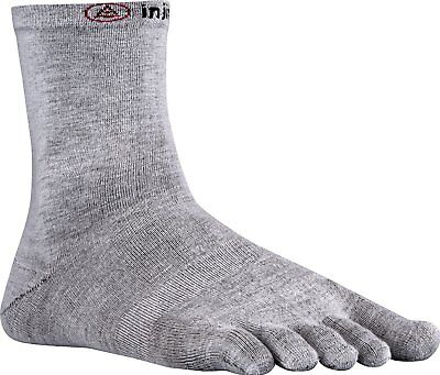 Injinji Performance Liner Lightweight Crew CoolMax Toe Socks Heather Gray-Med