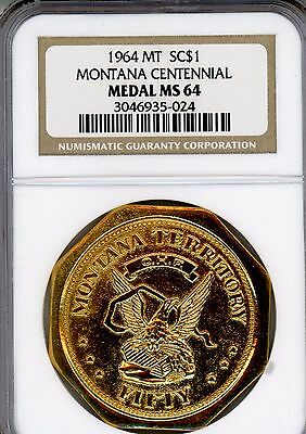 1964 Montana   Centennial  Gilt  Medal  So-Called Dollar  Ngc  Ms64