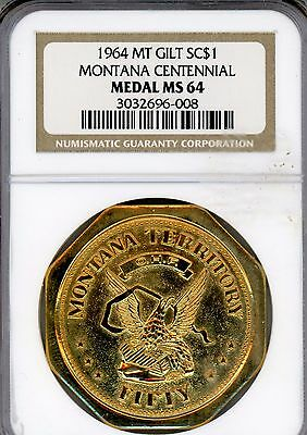 1964 Montana   Centennial  Gilt  Medal  So-Called Dollar  Ngc  Ms64!