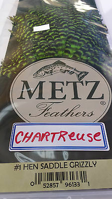 """Metz #1 HEN SADDLE """"GRIZZLY/CHARTREUSE""""   FREE SHIPPING worldwide"""