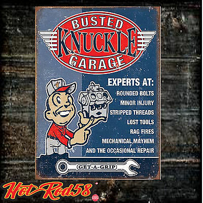 Busted Knuckle Experts at Funny Humorous Garage Advertising Metal Tin Wall Sign