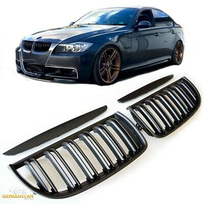 Grille  For Bmw E90 E91 Sport Kidney 05-07 Double Slat M3 Look Flat Black