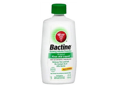 Bactine First Aid Antiseptic Liquid Squeeze 4 Oz Bayer Pain Relieving Infection