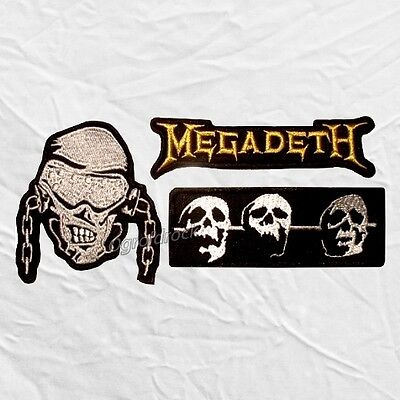 Set Megadeth Embroidered Patches Skull with Chains Word Logo Dave Mustaine