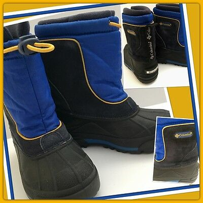 Boys 11 Columbia BUGABARN Jr. Snow Cold BOOTS Removable LINERS Royal Blue GOLD